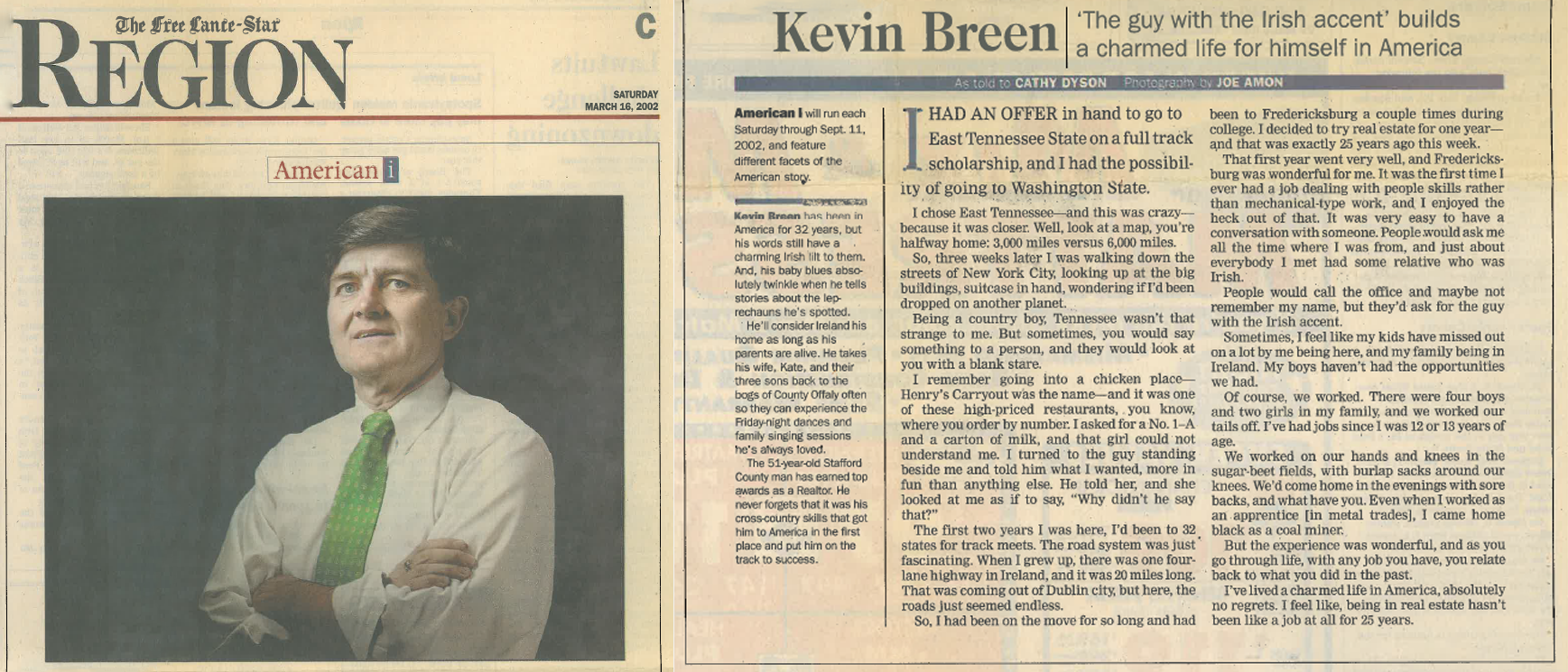 Kevin Breen in the Free Lance-Star Newspaper - The guy with the Irish accent.