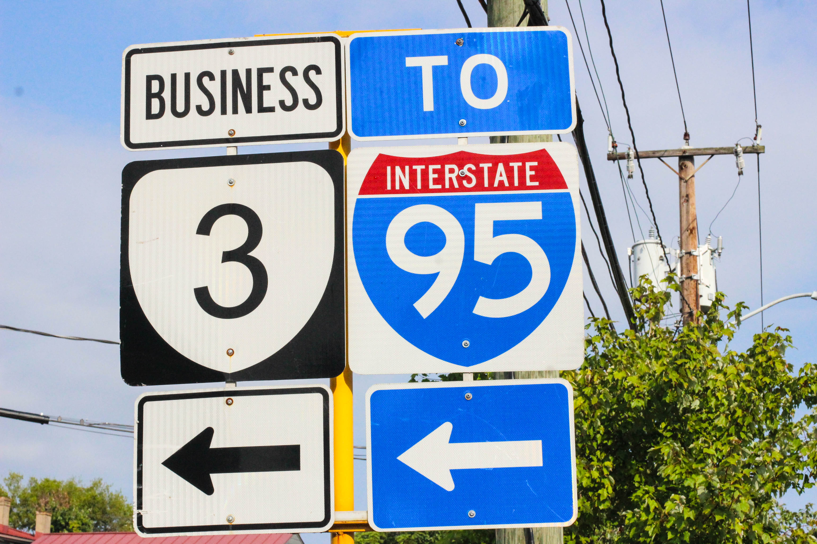 Route 3 and interstate 95 street signs in Fredericksburg, VA