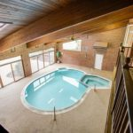 indoor pool wooden ceiling