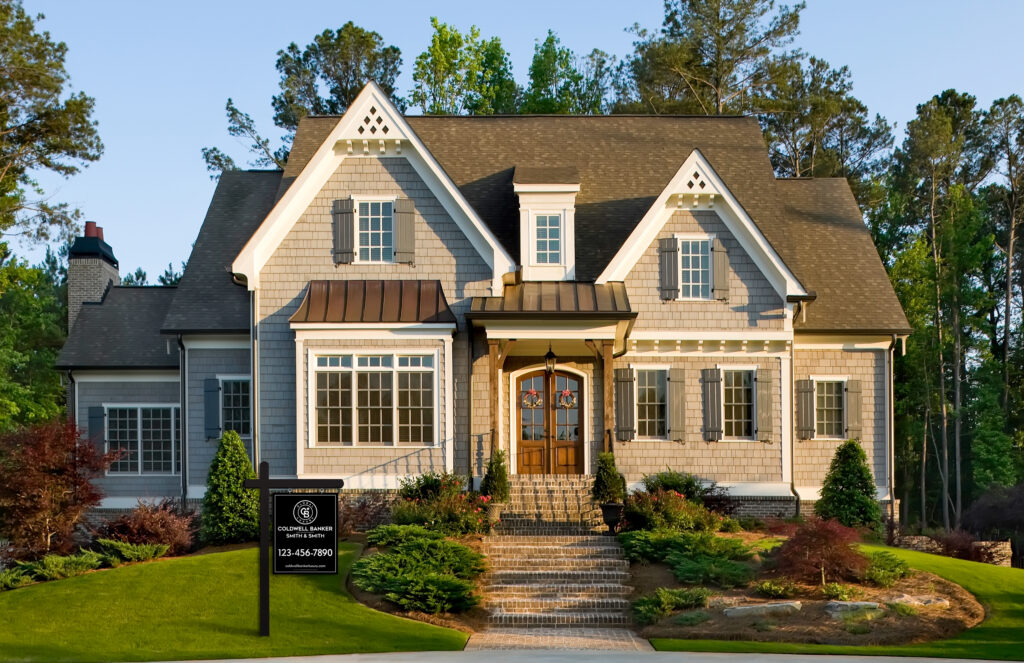 luxury traditional suburban home yard